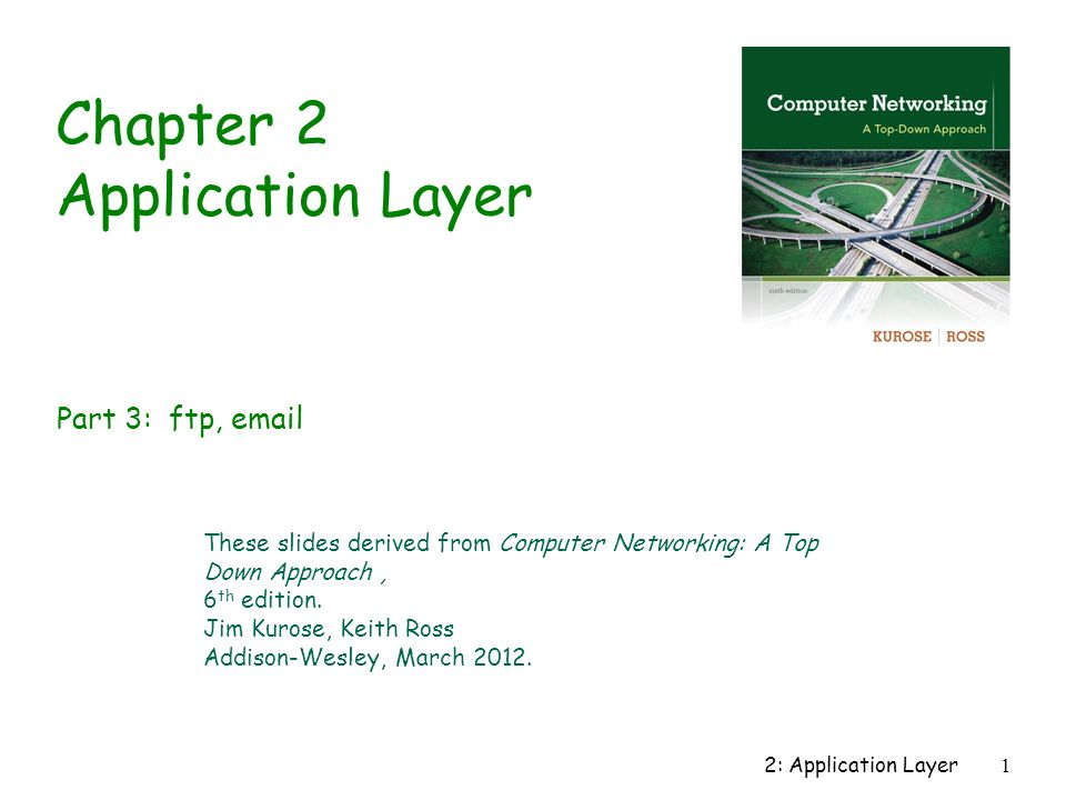 2: Application Layer1 Chapter 2 Application Layer These slides derived from Computer Networking: A Top Down Approach, 6 th edition.