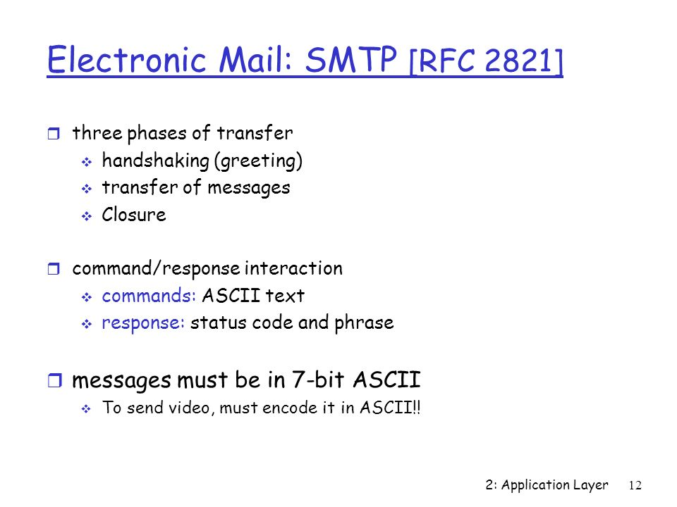 2: Application Layer12 Electronic Mail: SMTP [RFC 2821] r three phases of transfer  handshaking (greeting)  transfer of messages  Closure r command/response interaction  commands: ASCII text  response: status code and phrase r messages must be in 7-bit ASCII  To send video, must encode it in ASCII!!