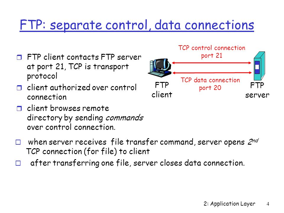 2: Application Layer4 FTP: separate control, data connections r FTP client contacts FTP server at port 21, TCP is transport protocol r client authorized over control connection r client browses remote directory by sending commands over control connection.