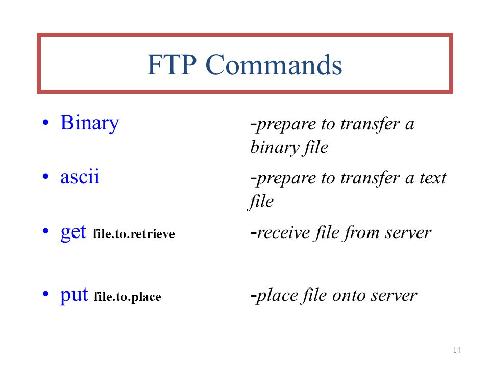 14 FTP Commands Binary- prepare to transfer a binary file ascii - prepare to transfer a text file get file.to.retrieve - receive file from server put file.to.place - place file onto server