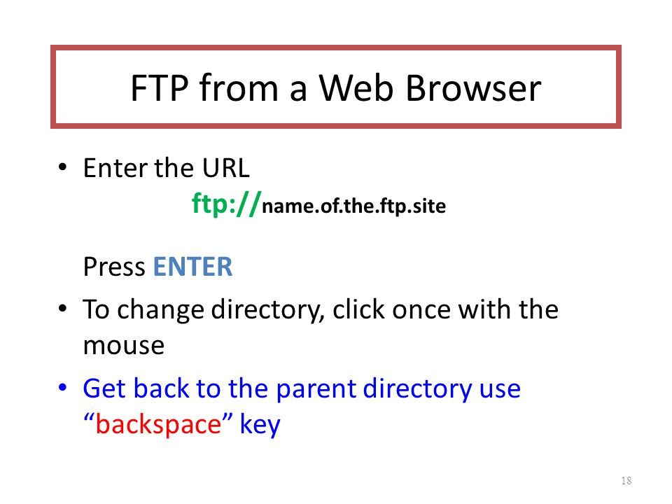 FTP from a Web Browser Enter the URL ftp:// name.of.the.ftp.site Press ENTER To change directory, click once with the mouse Get back to the parent directory use backspace key 18