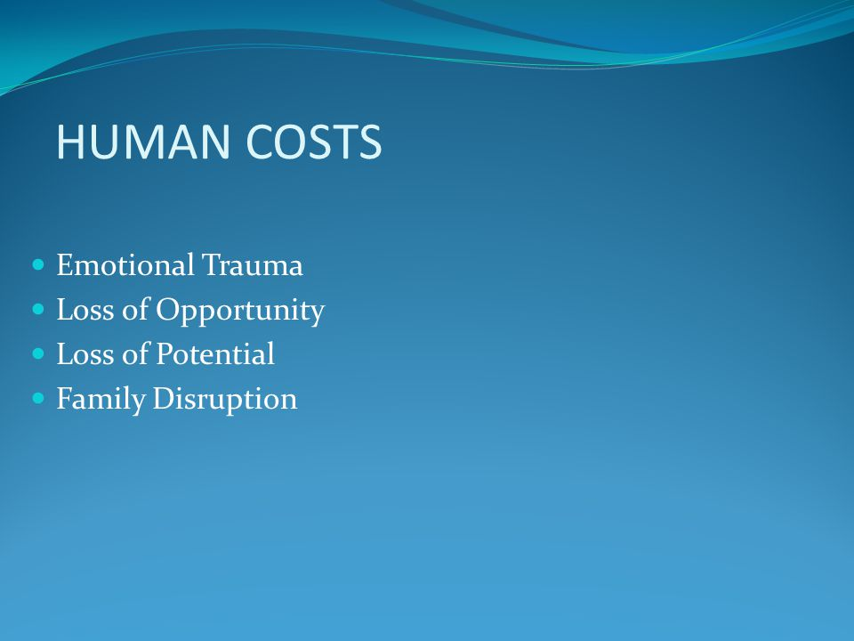 HUMAN COSTS Emotional Trauma Loss of Opportunity Loss of Potential Family Disruption