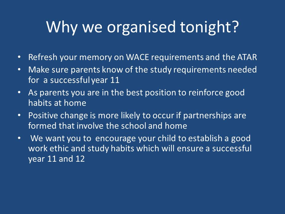Why we organised tonight.