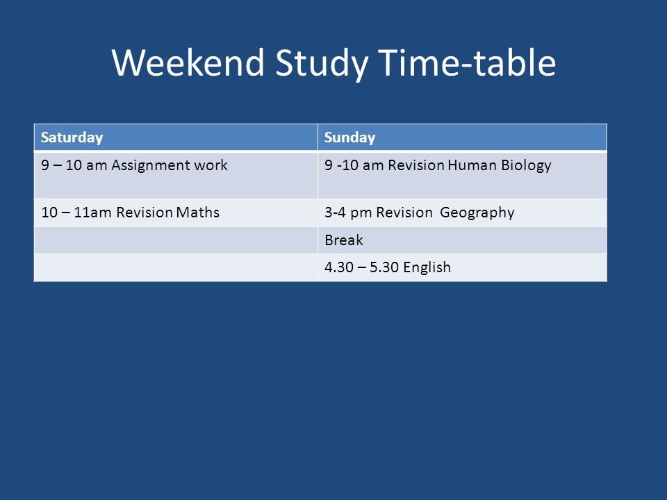 Weekend Study Time-table SaturdaySunday 9 – 10 am Assignment work9 -10 am Revision Human Biology 10 – 11am Revision Maths3-4 pm Revision Geography Break 4.30 – 5.30 English