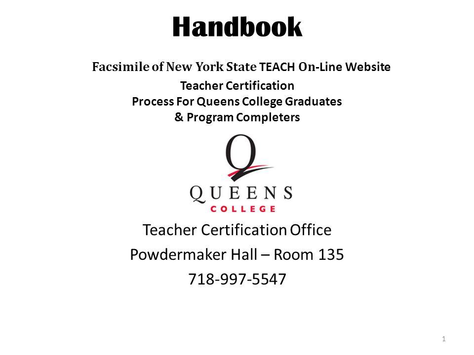 Handbook Facsimile Of New York State Teach On Line Website Teacher