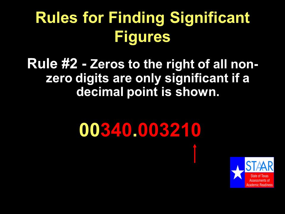 Rules for Finding Significant Figures Rule #2 - Zeros to the right of all non- zero digits are only significant if a decimal point is shown.