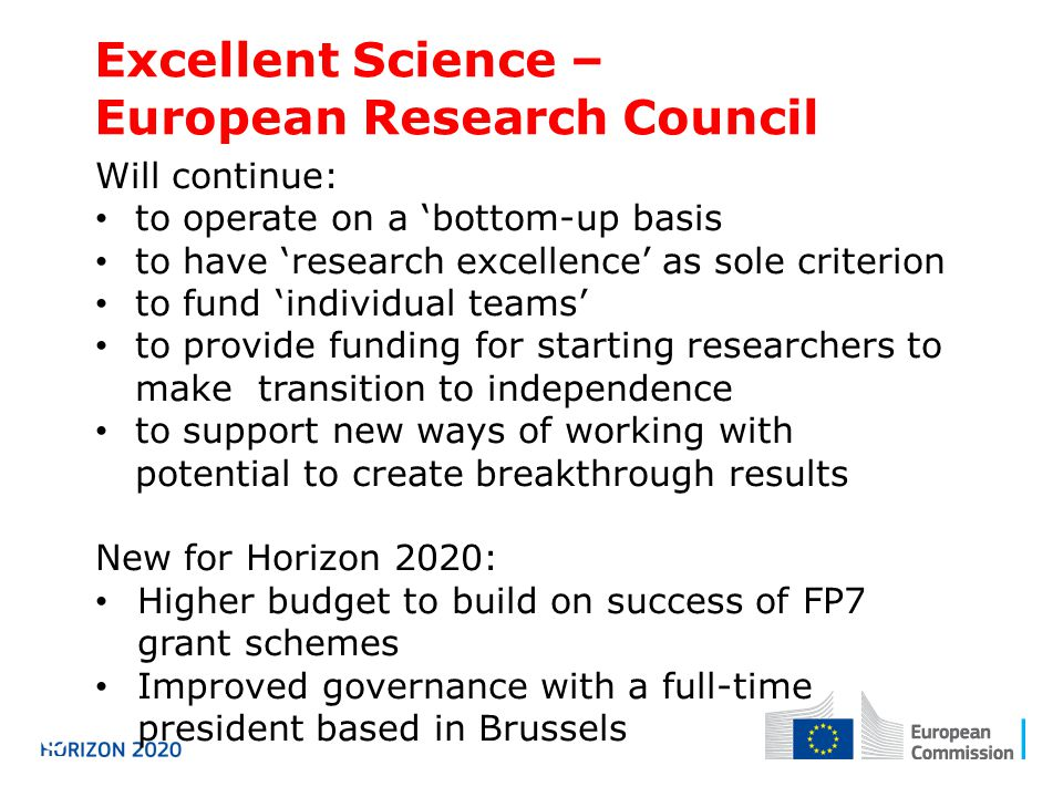 Excellent Science – European Research Council Horizon 2020 Will continue: to operate on a 'bottom-up basis to have 'research excellence' as sole criterion to fund 'individual teams' to provide funding for starting researchers to make transition to independence to support new ways of working with potential to create breakthrough results New for Horizon 2020: Higher budget to build on success of FP7 grant schemes Improved governance with a full-time president based in Brussels