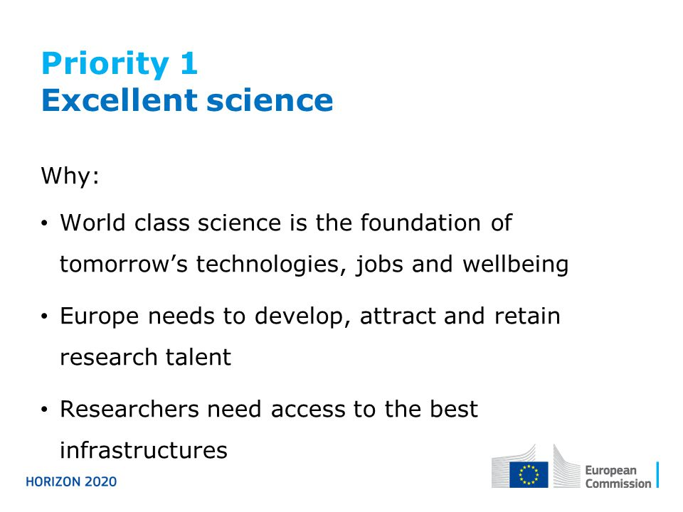 Priority 1 Excellent science Why: World class science is the foundation of tomorrow's technologies, jobs and wellbeing Europe needs to develop, attract and retain research talent Researchers need access to the best infrastructures