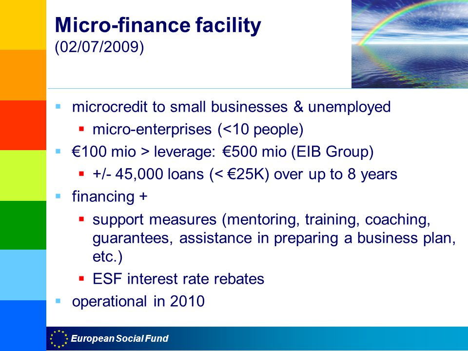 European Social Fund Micro-finance facility (02/07/2009)  microcredit to small businesses & unemployed  micro-enterprises (<10 people)  €100 mio > leverage: €500 mio (EIB Group)  +/- 45,000 loans (< €25K) over up to 8 years  financing +  support measures (mentoring, training, coaching, guarantees, assistance in preparing a business plan, etc.)  ESF interest rate rebates  operational in 2010