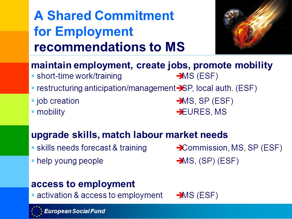 European Social Fund A Shared Commitment for Employment recommendations to MS maintain employment, create jobs, promote mobility  short-time work/training  MS (ESF)  restructuring anticipation/management  SP, local auth.