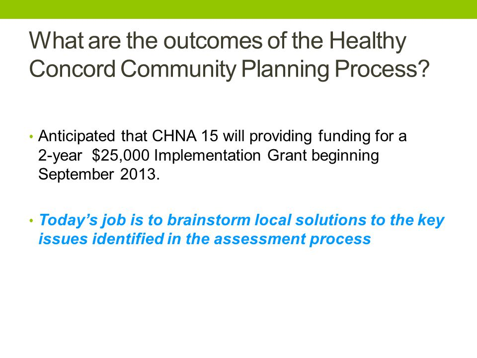 What are the outcomes of the Healthy Concord Community Planning Process.
