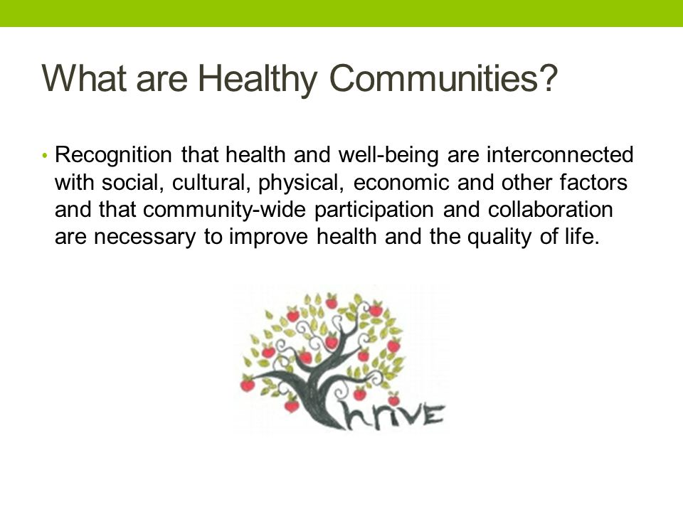 What are Healthy Communities.