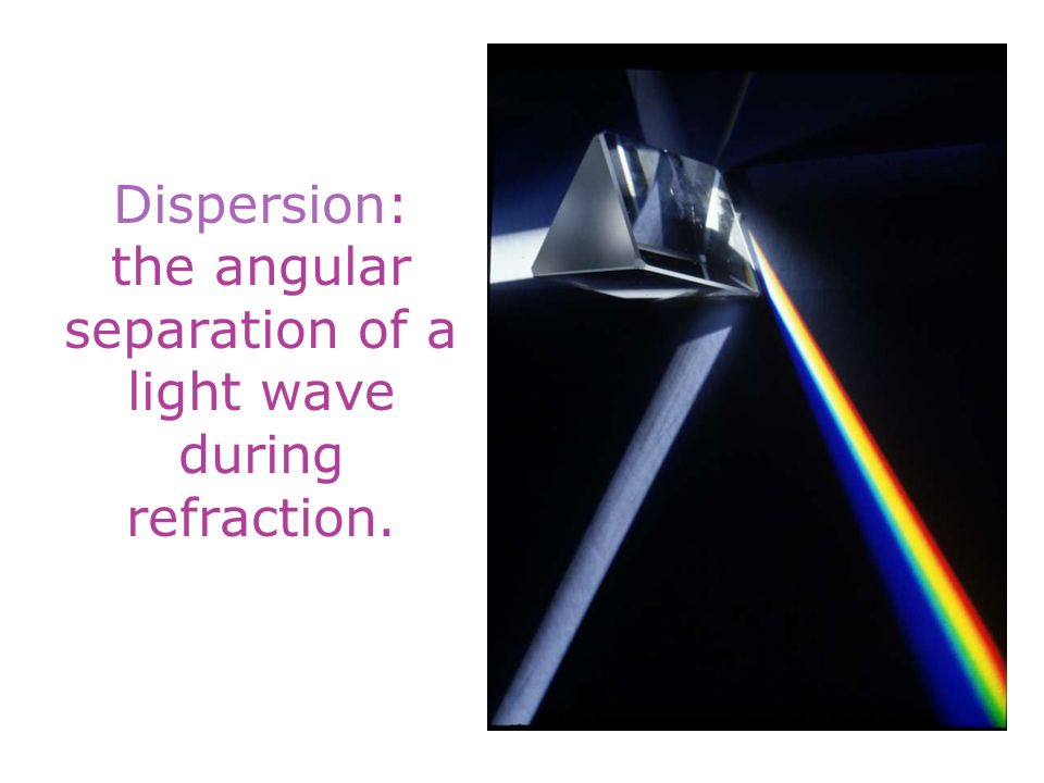 Dispersion: the angular separation of a light wave during refraction.