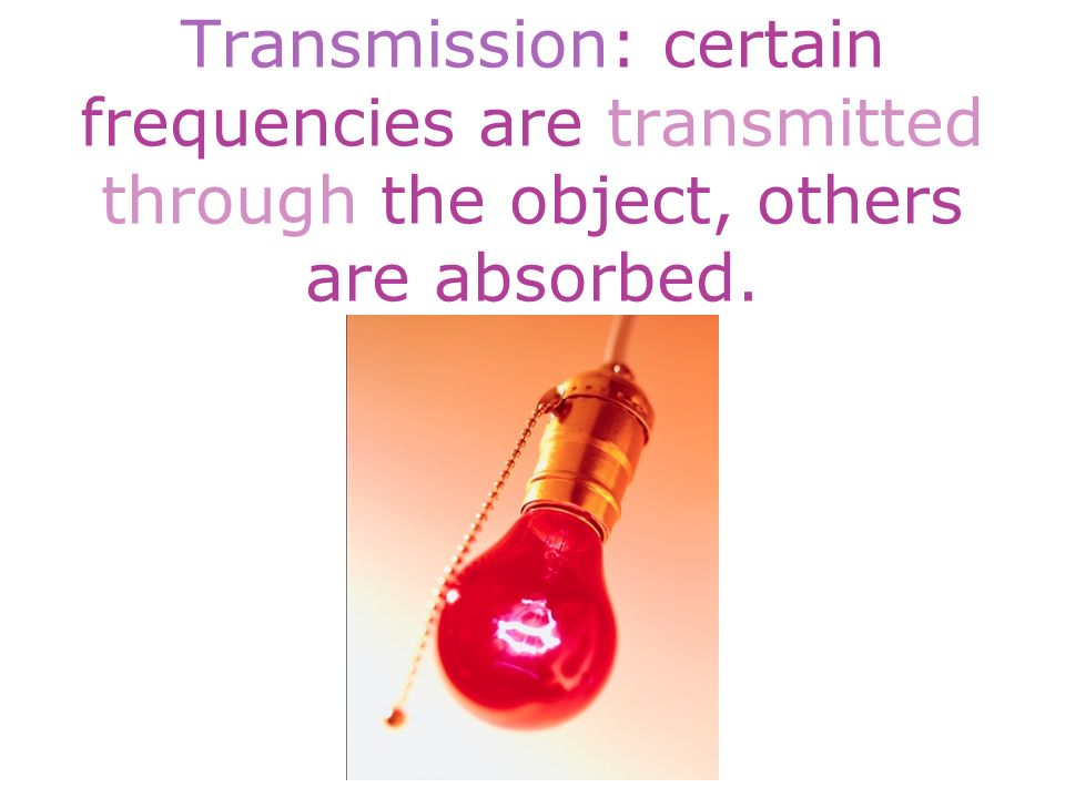 Transmission: certain frequencies are transmitted through the object, others are absorbed.