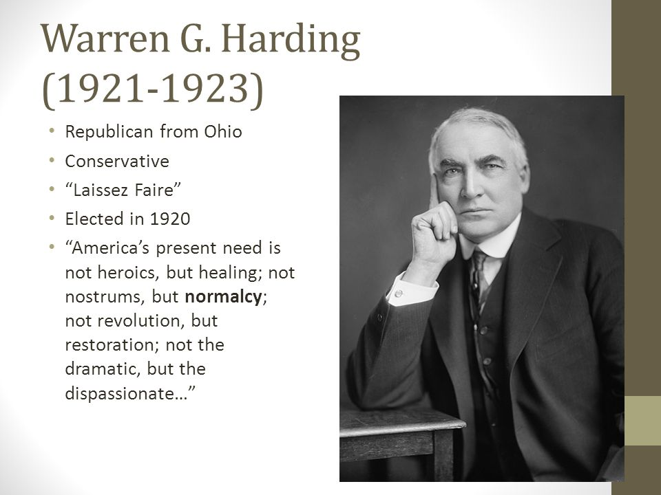 an analysis of warren g hardings presidency A portrait of president warren g harding hangs prominently on the back wall of the house of shields bar across the street from the palace hotel in san francisco, friday, aug 31, 2018, where 95.