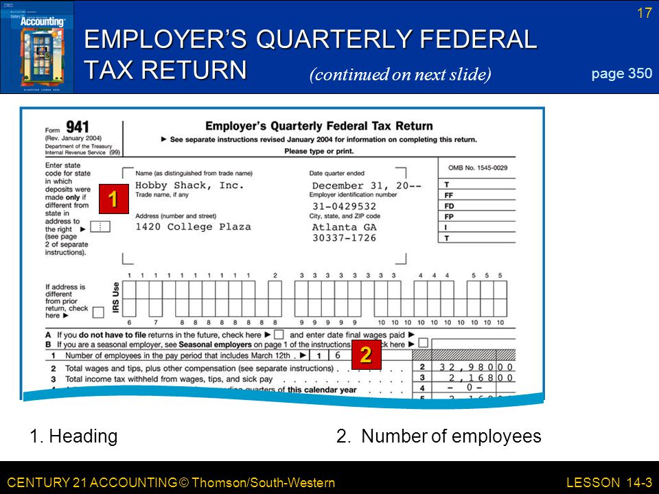 CENTURY 21 ACCOUNTING © Thomson/South-Western 17 LESSON 14-3 EMPLOYER'S QUARTERLY FEDERAL TAX RETURN page 350 (continued on next slide)