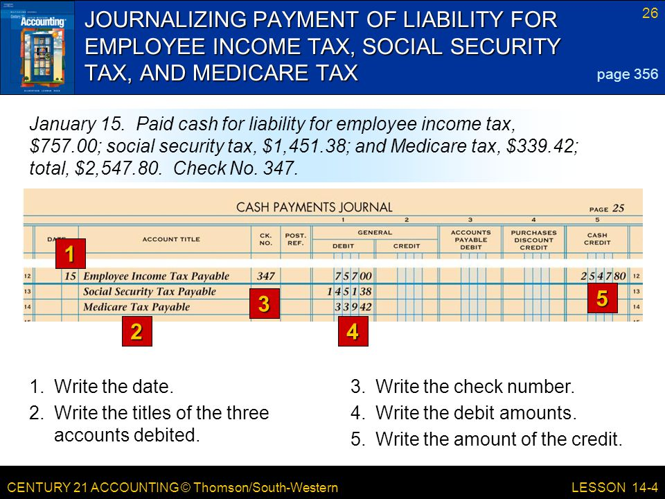CENTURY 21 ACCOUNTING © Thomson/South-Western 26 LESSON 14-4 JOURNALIZING PAYMENT OF LIABILITY FOR EMPLOYEE INCOME TAX, SOCIAL SECURITY TAX, AND MEDICARE TAX page 356 January 15.