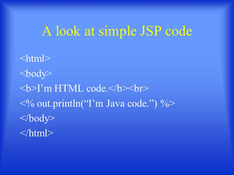 A look at simple JSP code I'm HTML code.