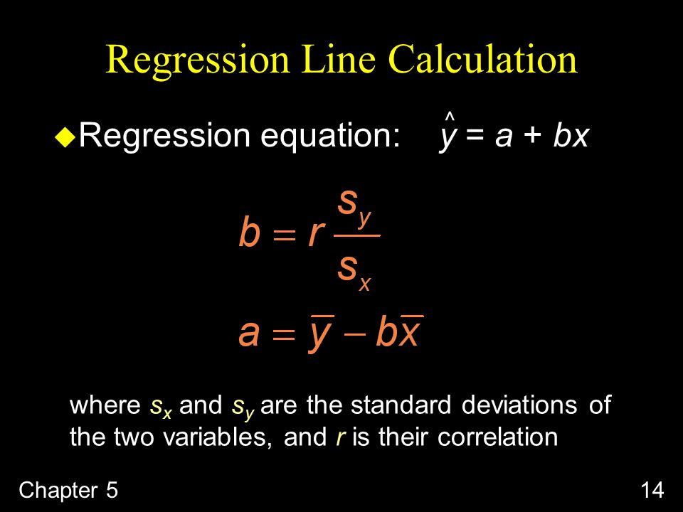 Regression Line Calculation Chapter 514 ^ u Regression equation: y = a + bx where s x and s y are the standard deviations of the two variables, and r is their correlation