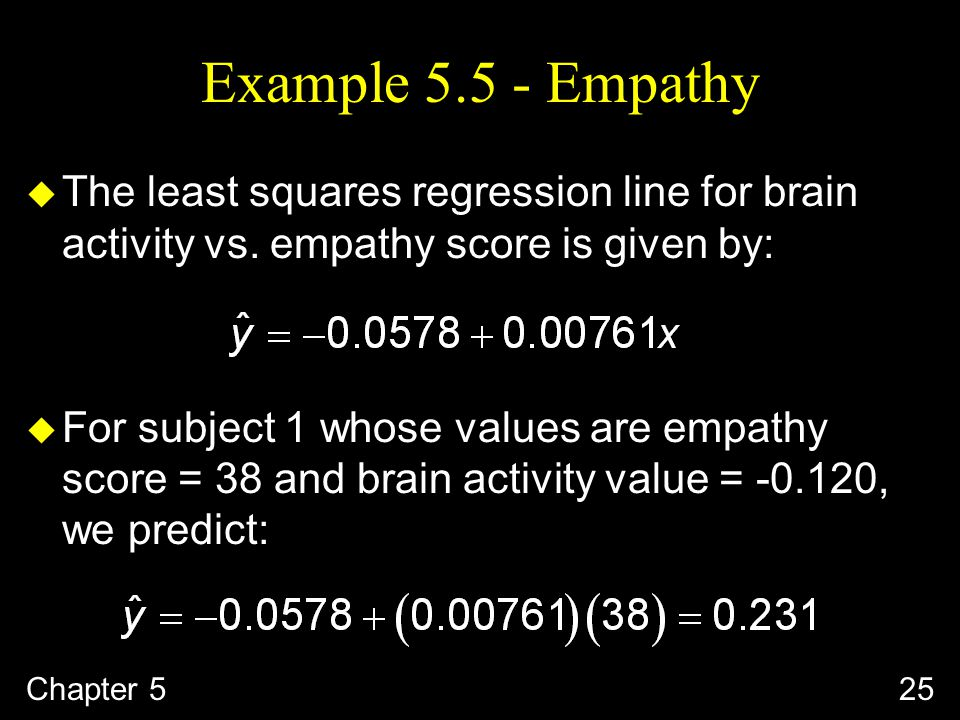 Example Empathy u The least squares regression line for brain activity vs.