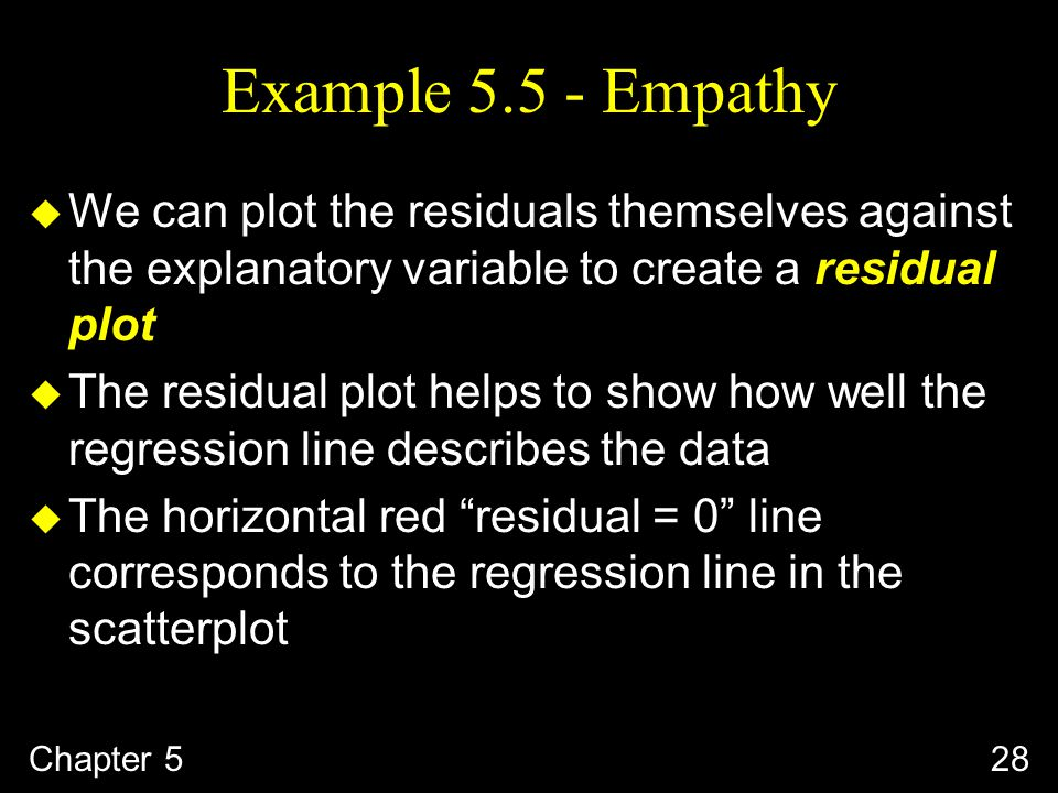 Example Empathy u We can plot the residuals themselves against the explanatory variable to create a residual plot u The residual plot helps to show how well the regression line describes the data u The horizontal red residual = 0 line corresponds to the regression line in the scatterplot Chapter 528