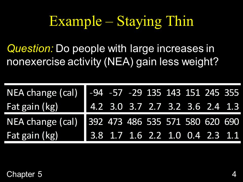Example – Staying Thin Question: Do people with large increases in nonexercise activity (NEA) gain less weight.
