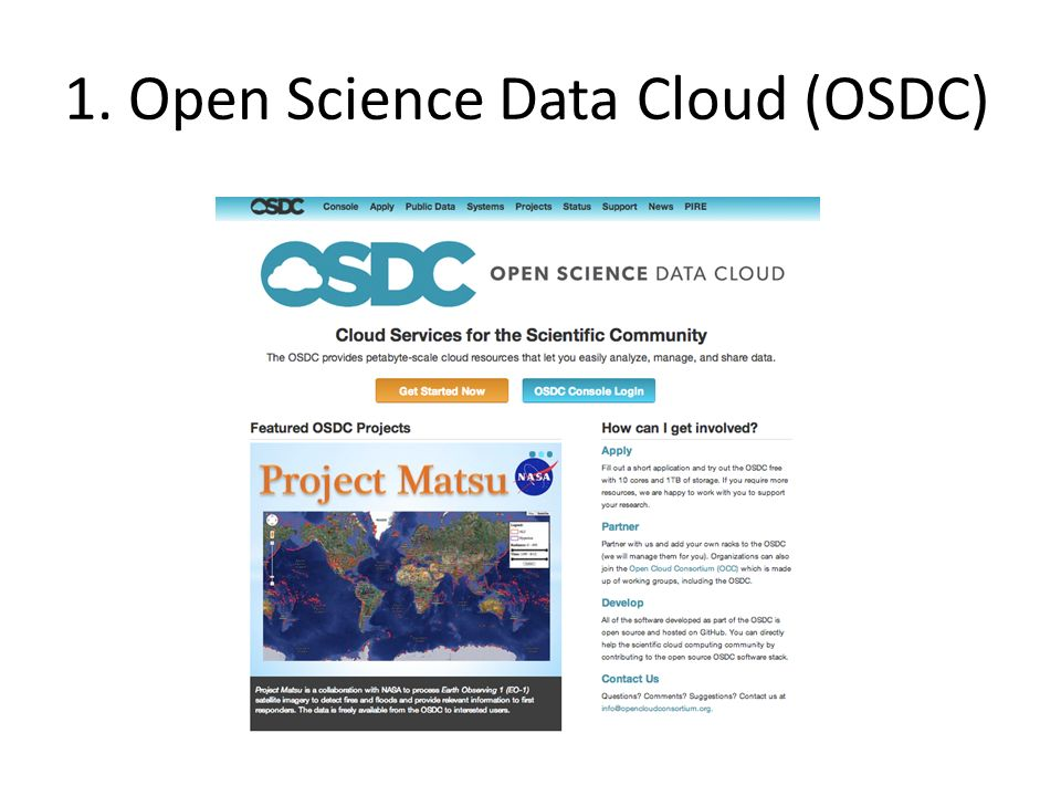 1. Open Science Data Cloud (OSDC)