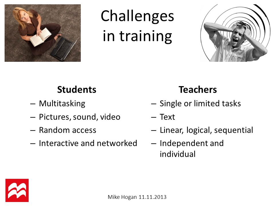 Mike Hogan Challenges in training Students – Multitasking – Pictures, sound, video – Random access – Interactive and networked Teachers – Single or limited tasks – Text – Linear, logical, sequential – Independent and individual