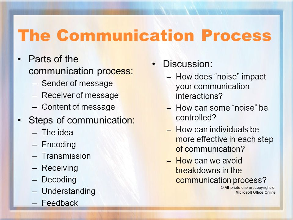 The Communication Process Parts of the communication process: –Sender of message –Receiver of message –Content of message Steps of communication: –The idea –Encoding –Transmission –Receiving –Decoding –Understanding –Feedback Discussion: –How does noise impact your communication interactions.