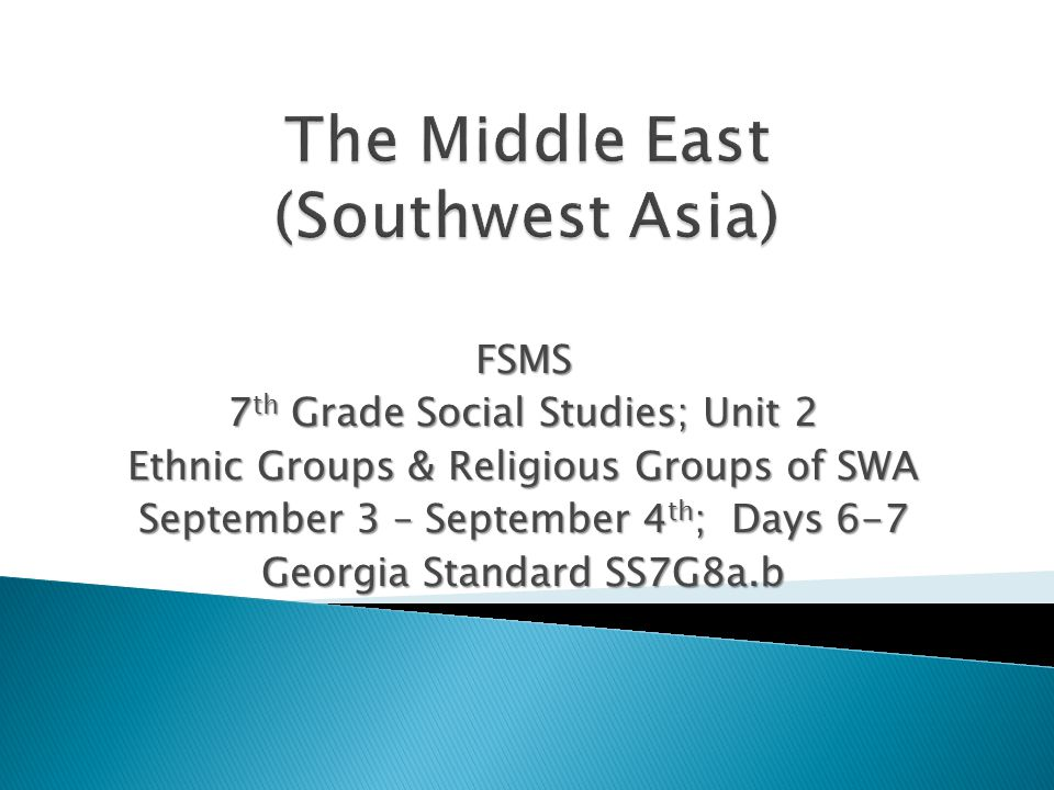 FSMS 7 th Grade Social Studies; Unit 2 Ethnic Groups & Religious Groups of SWA September 3 – September 4 th ; Days 6-7 Georgia Standard SS7G8a.b