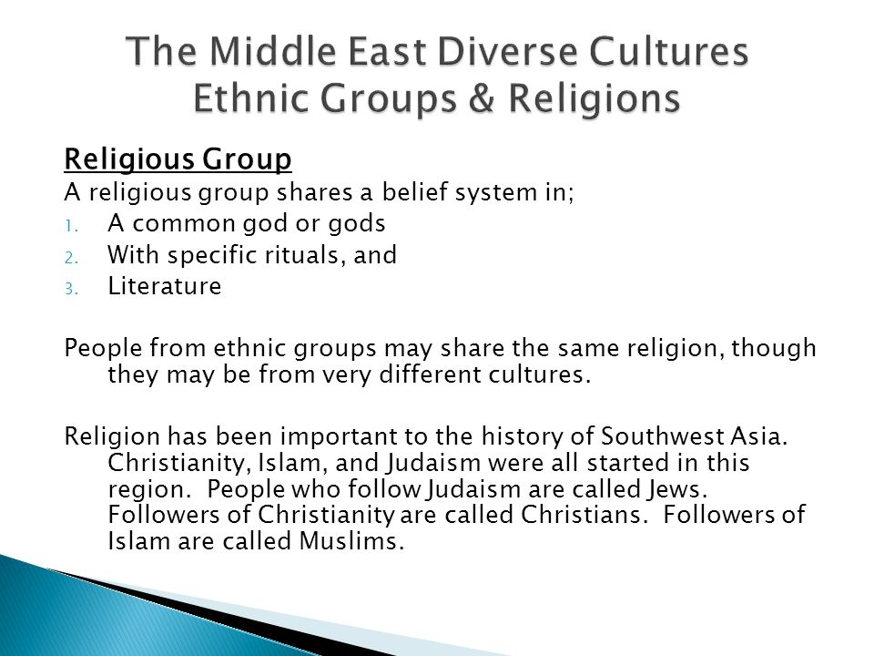 Religious Group A religious group shares a belief system in; 1.