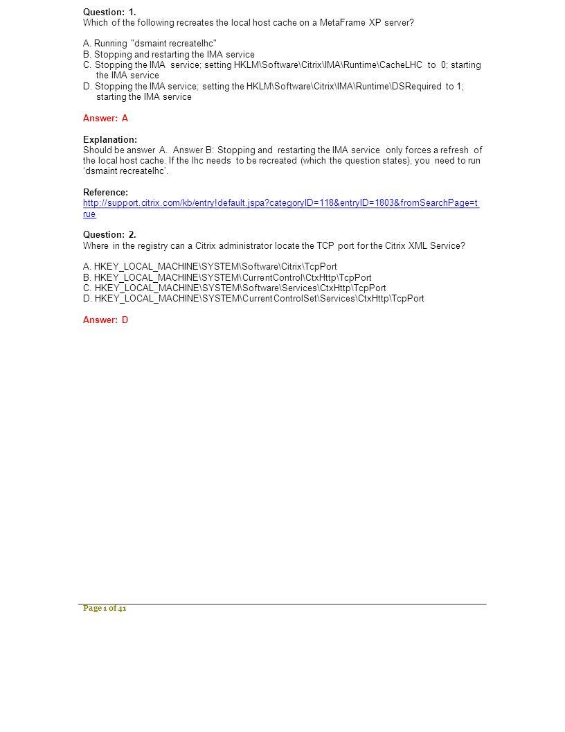 1Y0-222 Citrix Citrix MetaFrame XP Presentation Server Visit
