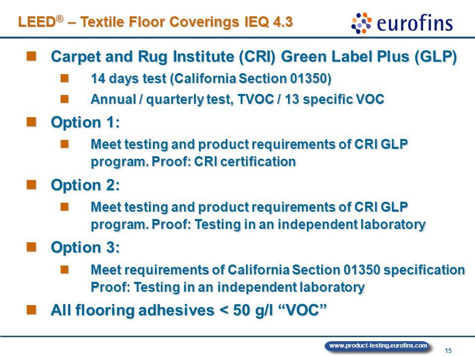 15 Carpet and Rug Institute (CRI) Green Label Plus (GLP) Carpet and