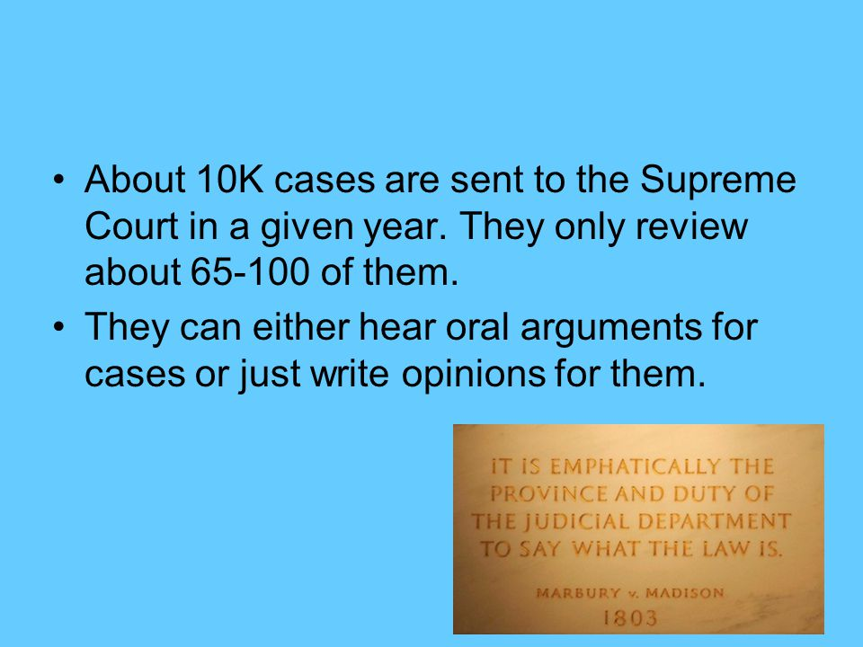 About 10K cases are sent to the Supreme Court in a given year.