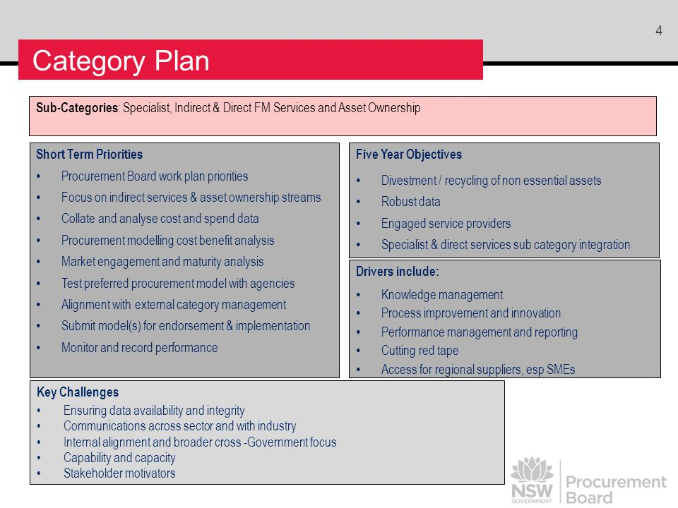 4 Category Plan Sub-Categories : Specialist, Indirect & Direct FM Services and Asset Ownership Short Term Priorities Procurement Board work plan priorities Focus on indirect services & asset ownership streams Collate and analyse cost and spend data Procurement modelling cost benefit analysis Market engagement and maturity analysis Test preferred procurement model with agencies Alignment with external category management Submit model(s) for endorsement & implementation Monitor and record performance Key Challenges Ensuring data availability and integrity Communications across sector and with industry Internal alignment and broader cross -Government focus Capability and capacity Stakeholder motivators Five Year Objectives Divestment / recycling of non essential assets Robust data Engaged service providers Specialist & direct services sub category integration Drivers include: Knowledge management Process improvement and innovation Performance management and reporting Cutting red tape Access for regional suppliers, esp SMEs