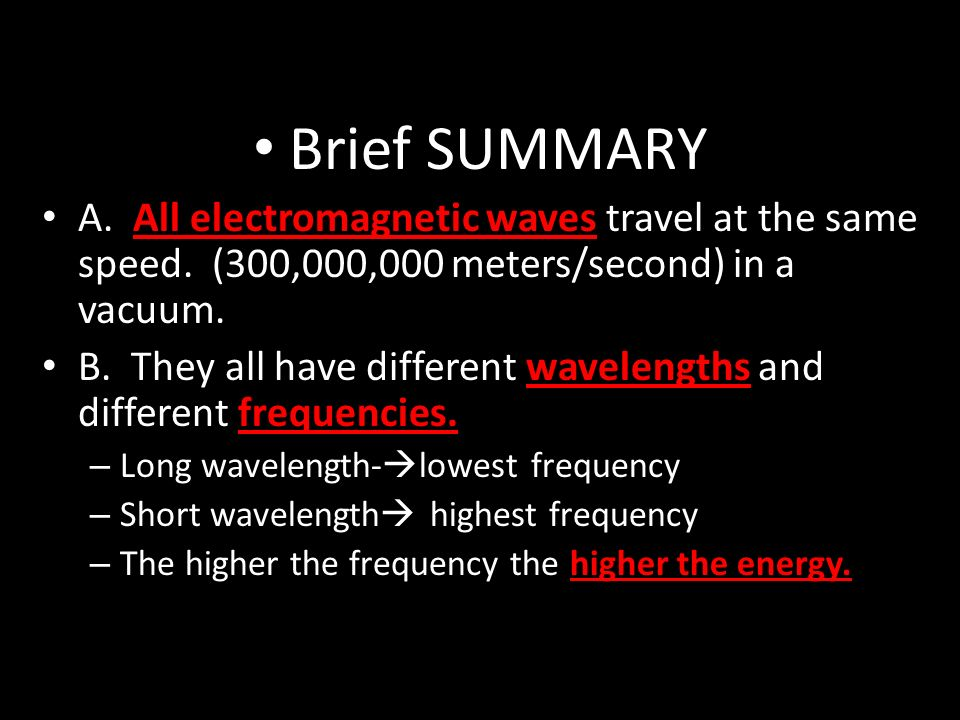 Brief SUMMARY A. All electromagnetic waves travel at the same speed.