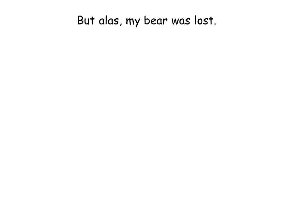But alas, my bear was lost.