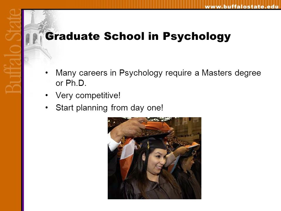 Graduate School in Psychology Many careers in Psychology require a Masters degree or Ph.D.