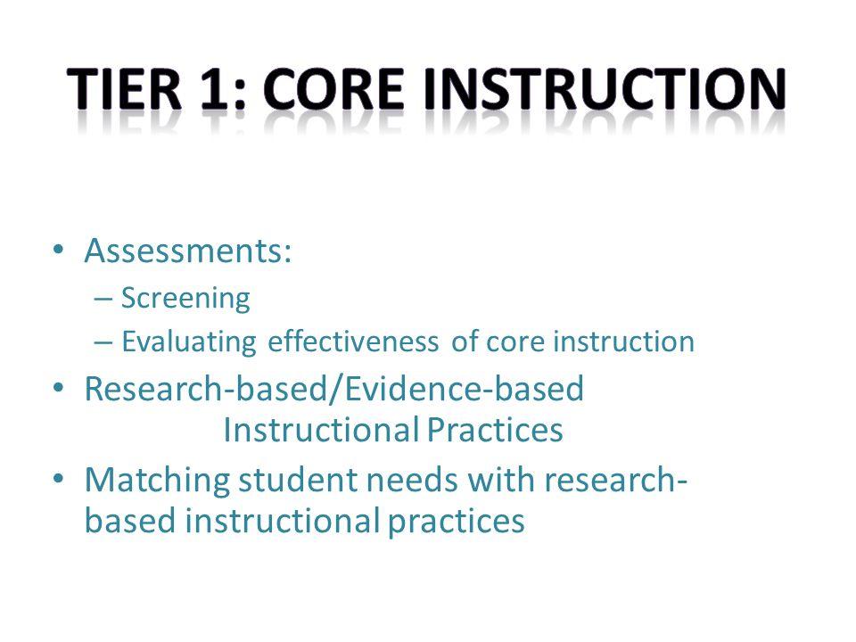 Webinar 3 Core Instruction Tier 1 Assessments Screening