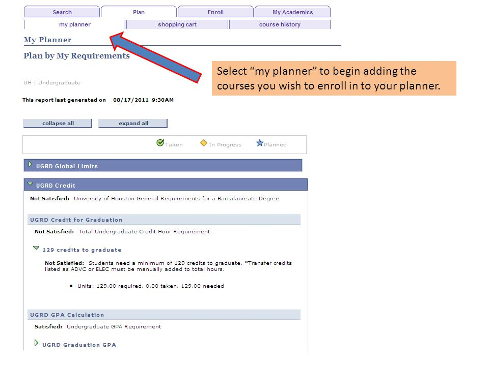 Select my planner to begin adding the courses you wish to enroll in to your planner.