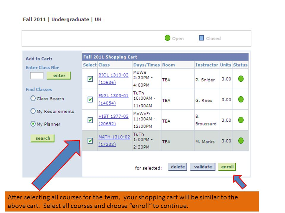 After selecting all courses for the term, your shopping cart will be similar to the above cart.