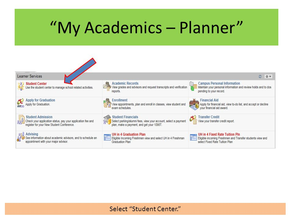 Select Student Center. My Academics – Planner