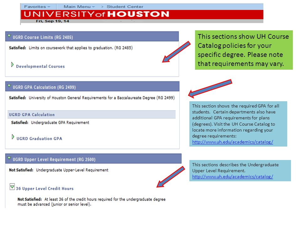 This sections show UH Course Catalog policies for your specific degree.