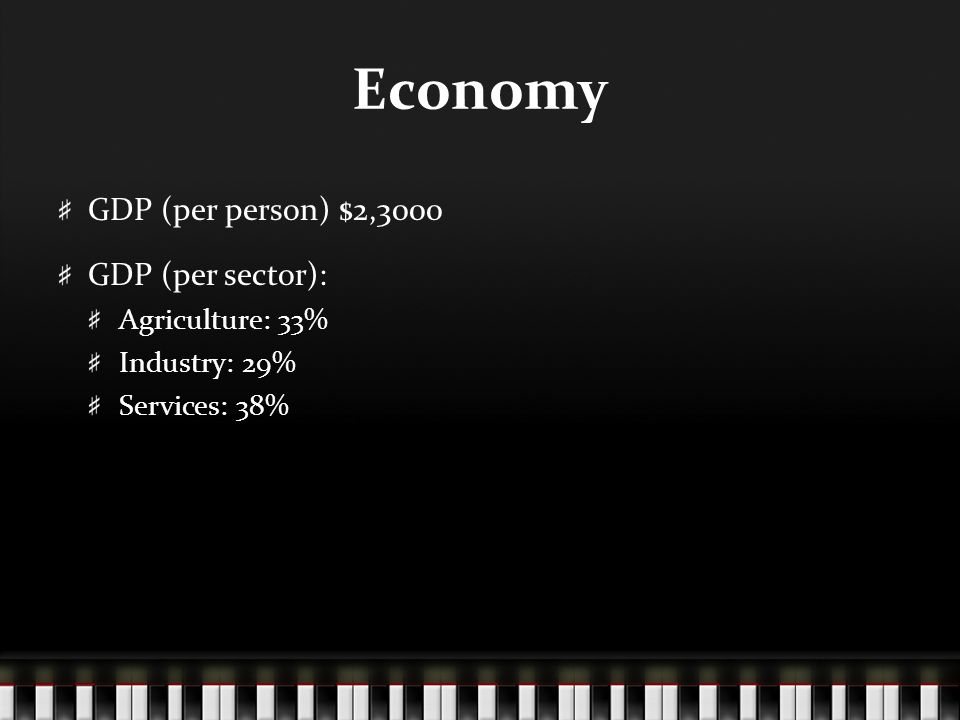 Economy GDP (per person) $2,3000 GDP (per sector): Agriculture: 33% Industry: 29% Services: 38%