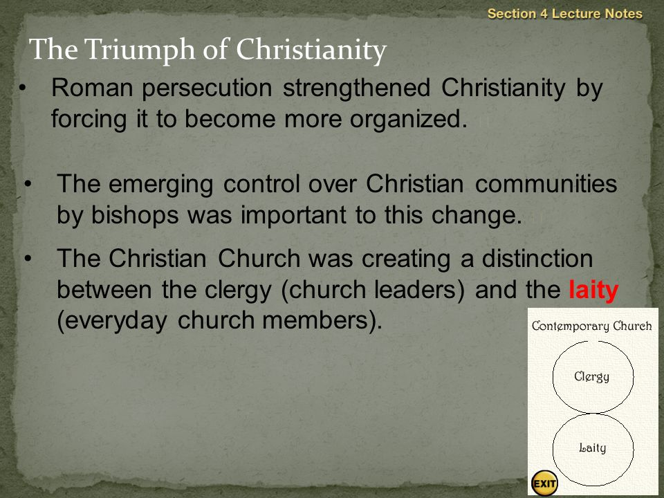 Roman persecution strengthened Christianity by forcing it to become more organized.