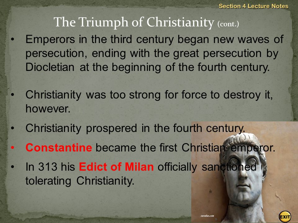 Emperors in the third century began new waves of persecution, ending with the great persecution by Diocletian at the beginning of the fourth century.