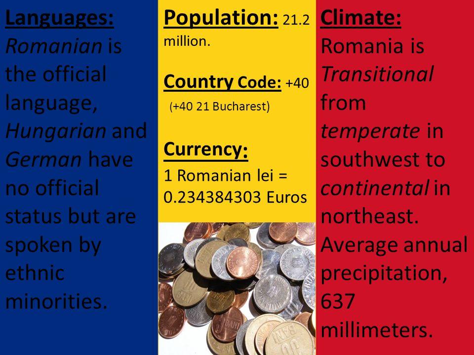 ROMANIA  THE CAPITAL OF ROMANIA IS … BUCHAREST Population