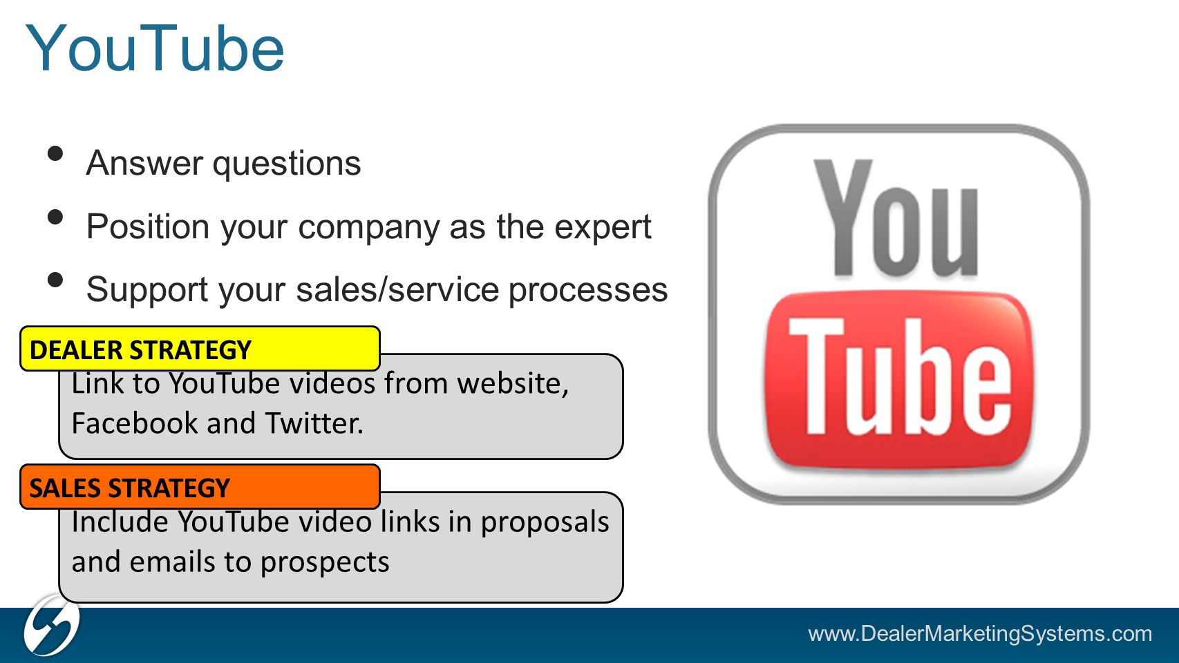 YouTube Answer questions Position your company as the expert Support your sales/service processes Link to YouTube videos from website, Facebook and Twitter.