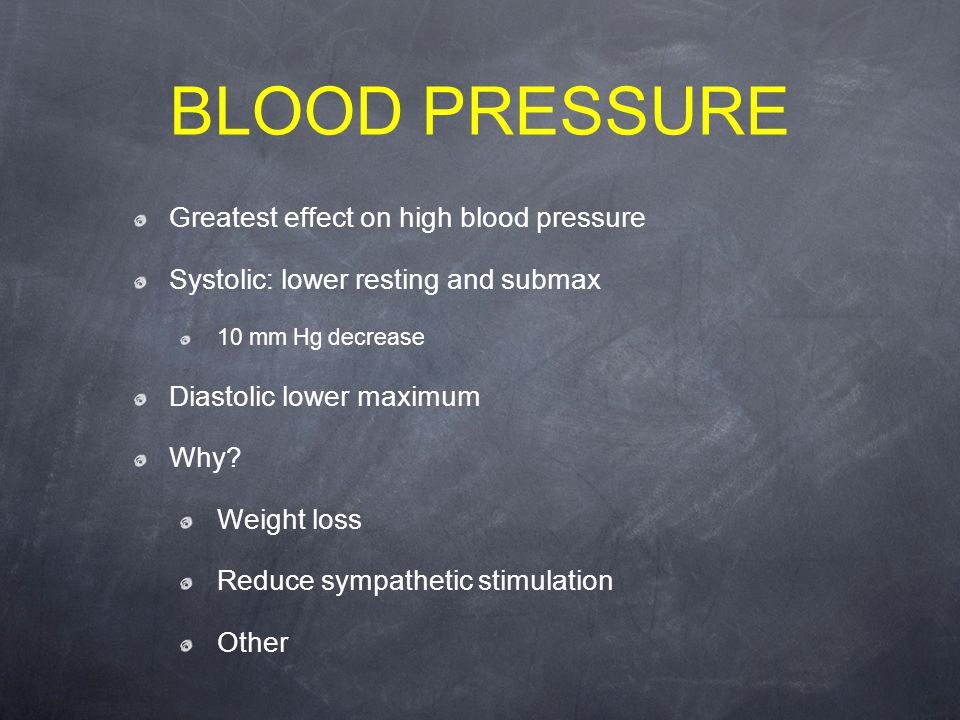 BLOOD PRESSURE Greatest effect on high blood pressure Systolic: lower resting and submax 10 mm Hg decrease Diastolic lower maximum Why.