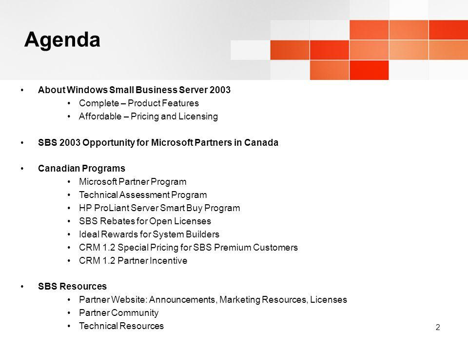 Selling Windows Small Business Server 2003 in Canada Pamela Lauz